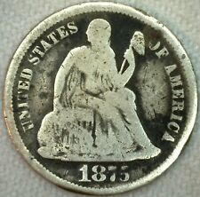 1875 CC Silver Seated Liberty Dime Ten Cent US Type Coin Good CC Above Bow  K33