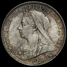More details for 1899 queen victoria veiled head silver sixpence, unc or near so