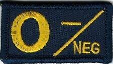 Navy Coast Guard Blue Yellow Blood Type O- Negative Patch VELCRO® BRAND Hook Fas