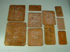 10 x GZ alte Merkenthaler Monogramme, Kupfer Schablonen,Stencils,Patrons broder