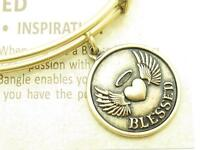 Wind and Fire Blessed Heart Charm Gold Wire Stackable Bangle Bracelet USA Gift