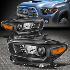 FOR 16-20 TOYOTA TACOMA BLACK HOUSING AMBER CORNER PROJECTOR HEADLIGHT HEADLAMP