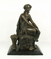 Antique 19 Century Bronze a Seated Neoclassical Lady Sculpture