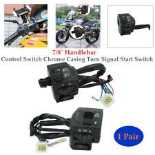 "2PCS Motorcycle 7/8"" Handlebar Control Switch Chrome Turn Signal Start Switch"