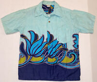 Vintage Hawaiian Alii Lole Shirt Waves Flower Print Loop Collar Beach Surf Tiki
