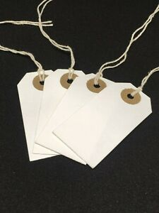 50 White Strung ID Parts Tags 70 x 35 String Tie On Parcel Luggage 70mm x 35mm