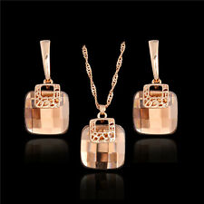 New Brown Crystal 18K Gold Plated Women's Wedding Necklace Earring Jewelry Set