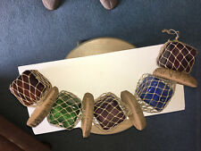 """Vintage Fishing Floats - 5 Colored Glass 3"""" Square Floats with Net & Corks"""