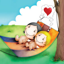'Sweet Dreams' Cupids Birthday/Anniv/Valent Card him/her day-dreaming in hammock