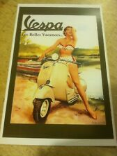 Vintage Vespa Scooter Pin Up Poster Home Decor Man Art Christmas Present