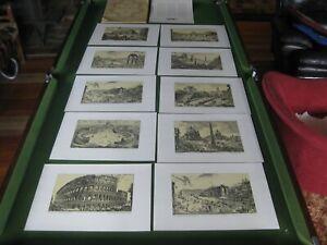 Vintage Italian Prints x 10 (G.B. Piranesi - Verdute Di Roma) w Folder/Desc Page