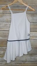 NWT PUMA XTREME Tight Frilled Tank Top Women's Sz L White Ruffle Criss Cross