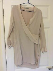 All Saints Nude Silk Mix Walton Shirt Dress UK Size 8 US 4 Excellent Condition