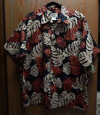 "Cooke Street 50"" Chest Men's XL Black Honolulu Aloha Shirt Leaf Print Hawaii"