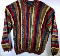 Tundra VTG 90s Cosby Hip Hop Textured Sweater Wild Colorful Mercerized Cotton XL