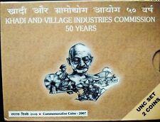 50 & 5 RUPEES 2007 KHADI & VILLAGE INDUSTRIES COMMISSION 50 YEARS UNC COINS SET