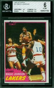 1981 82 TOPPS #21 MAGIC JOHNSON HALL OF FAME L.A. LAKERS EX-MT 9.5 9.5 & 9 BGS 6