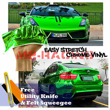 "*60""x360"" Supercast Easy Stretch Chrome Green Car Vinyl Wrap Bubble Free Sticker"