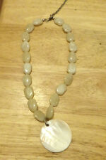 Beautiful Agate Look Beaded necklace with Mother of Pearl large pendant