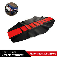 1x Red + Black Rubber Gripper Motorcycle Dirt Bike Seat Cover Rib Skin Protector