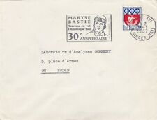 LETTRE FLAMME MARYSE BASTIE BELLE FRAPPE 1967 30e AN TRAVERSEE ATLANTIQUE SUD