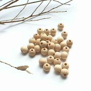 10mm Wood Bead x25, Wooden Balls Natural Round Unfinished Jewellery Findings