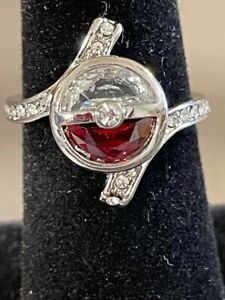 Estate Find beautiful POKEMON Ball  Rubies w/ CZ  & Accents in a Silver Setting