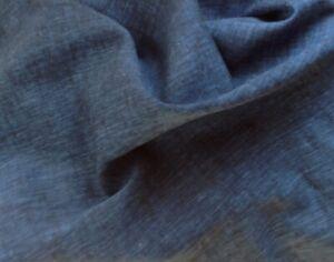 Linen Blend Woven Fabric Yarn Dyed Unique Indigo Blue Medium Weight BTY