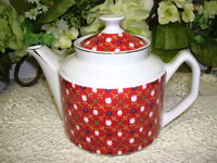 TEA POT WHITE WITH RED TULIPS PRINT