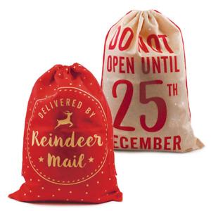 Large Christmas Hessian Santa Sack Vintage 100X70 cm Gift Bag Xmas Presents Bags