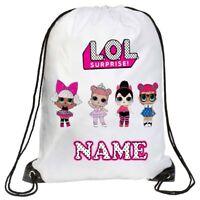 Personalised LOL Dolls Kids Drawstring Bag Swimming, School, Any Name