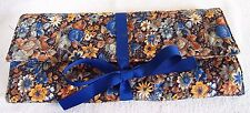 """Tri-Fold Quilted Cotton Jewelry Travel Pouch. 6 Pocket. 12""""x 15"""", 12""""x 6"""" Folded"""