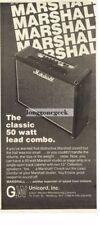 1976 Marshall Classic 50 Watt Lead Combo Amplifier Vtg Print Ad