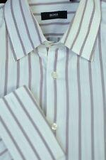 Hugo Boss Men's White Black Stripe Cotton Dress Shirt 16.5 x 37