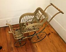 Haywood Antique Wicker Doll Carriage w. Cast Iron Wheels & Back Lever Support