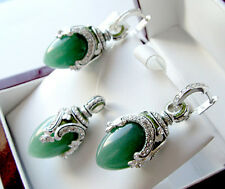 SUPERB ENAMEL EGG PENDANT & EARRINGS SET STERLING 925 GENUINE GREEN JADE