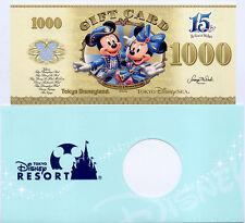 Tokyo Disneyland DisneySEA Gift Card Mickey 1000Yen Disney Dollar 15th