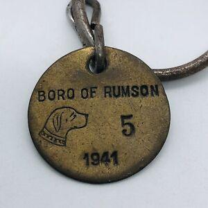 Vtg 1941 Boro of Rumson NJ Brass Dog Tag License on Keychain #5