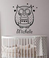 Girl Nursery Decor Personalized Name Wall Decals Owl Vinyl Sticker Kids Art LA16