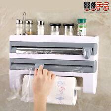 Kitchen Cling Film Dispenser Tin Foil Paper Towel Holder Roll Storage Wall Mount