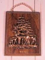 Maine Stag Deer Wall Hanging Copper Plastic Wood Plaque Fir Tree Canada EUC