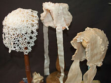 VICTORIAN INFANT BABY DAY CAPS OR BONNETS HANDMADE LOT OF 3 - TATTING AND LACE