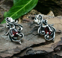 925 Sterling Silber edle Ohrstecker Granat rot Stein Gothic Gotik Larp Ohrring