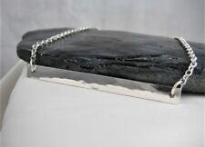 "Abstract Sterling Silver Hammered Rectangular Bar Necklace 17"" - Handmade In UK"