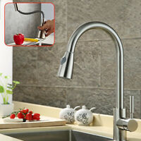 Stainless Steel Pull Out Sprayer Kitchen Faucet Single Hole Sink Brushed Nickel