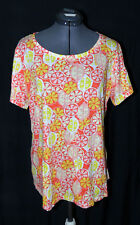 NEW! Crown & Ivy Women's Lemon & Oranges Pattern Lightweight Top - Plus Size 1X