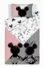 Mickey Minnie Mouse Duvet Cover - SINGLE Reversible Bedding Pink Grey New