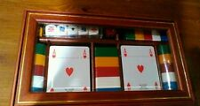 Dal Negro confezione legno coperchio in vetro con carte da gioco e fiches