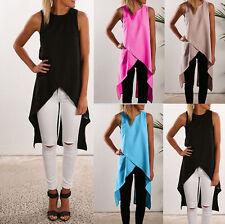 Womens Sleeveless Long Tank Blouse Ladies Chiffon Camisole Vest Shirts Tops Cami