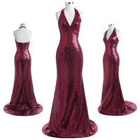 Grace Karin Sequin V-Neck Prom Gown Mermaid Party Formal Evening Wedding Dress